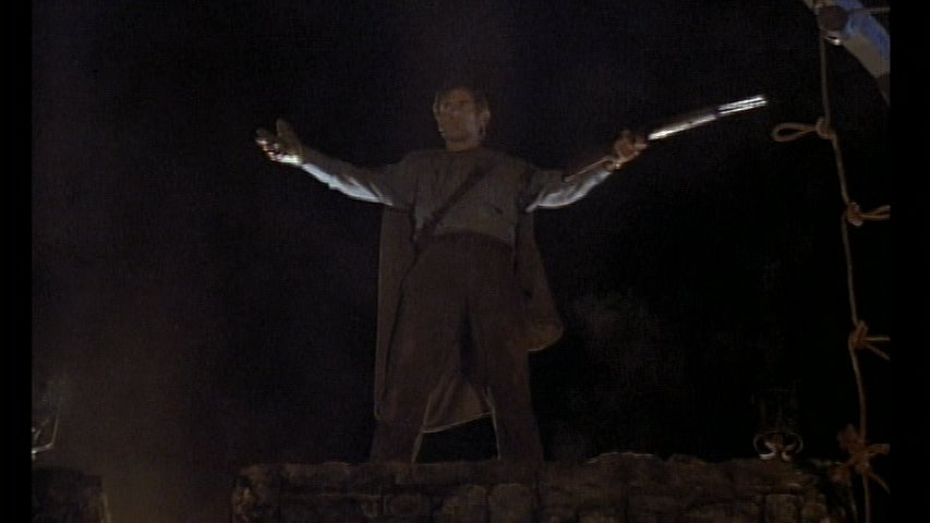 Ash Williams on the castle wall in Army of Darkness
