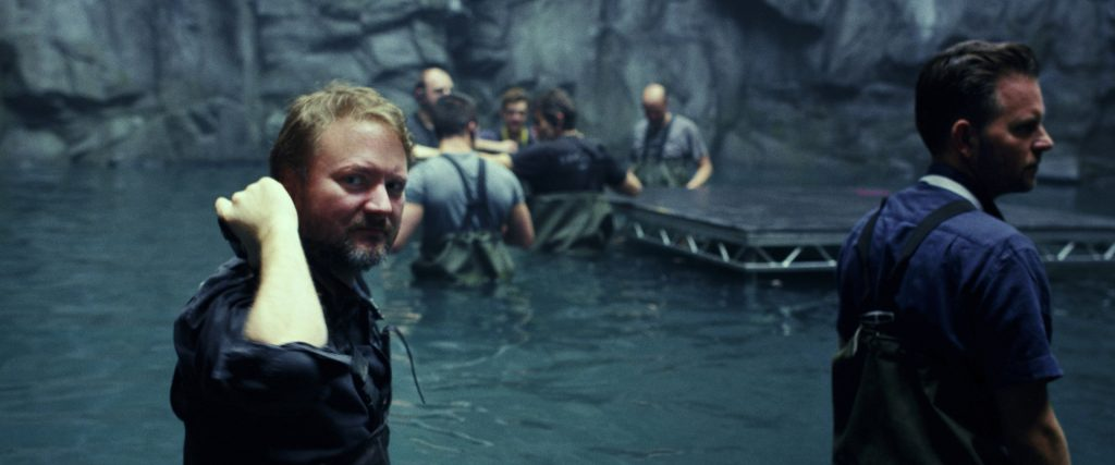 Rian johnson on the set of Star Wars: The Last Jedi