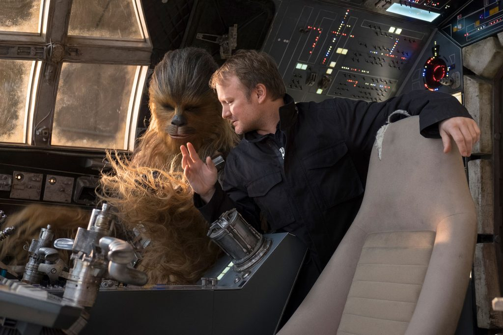 Rian Johnson directing Chewbacca on Star Wars: The Last Jedi