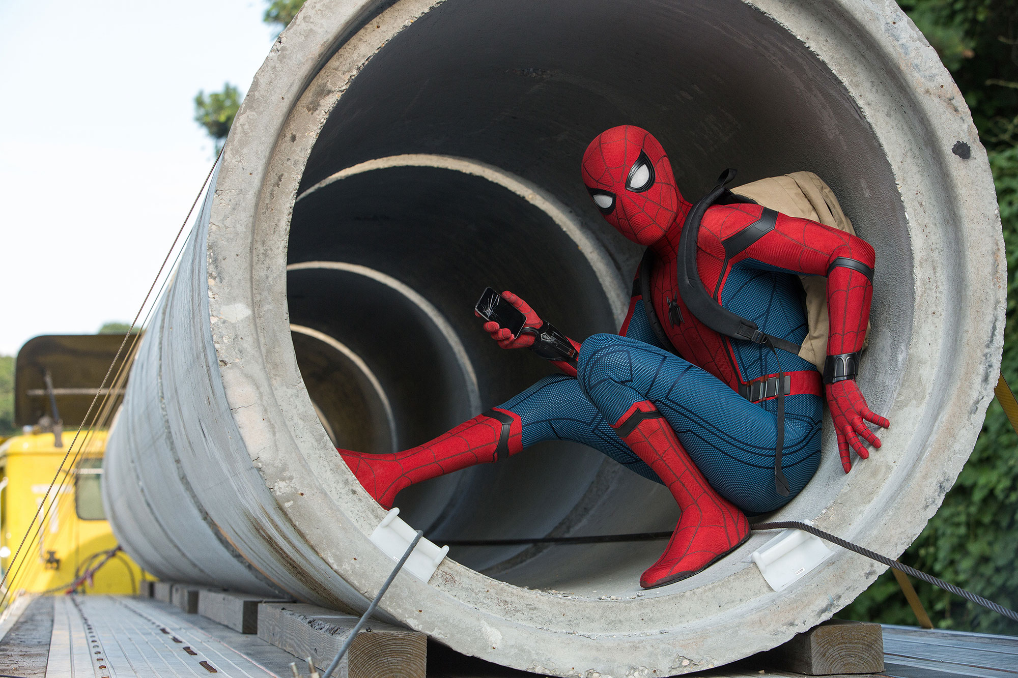 The title is a pun – a review of Spiderman: Homecoming